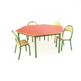Stół przedszkolny Bambino SL sześciokątny nr 2 blat BUK