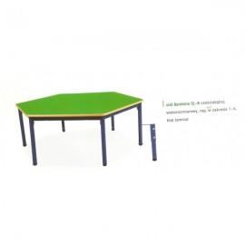 2044 Stół przedszkolny Bambino SLR sześciokątny regulowany blat BUK